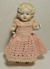 "Miniature Dollhouse Bisque Penny Doll 6"" Jointed Arms and Legs Made in Japan"