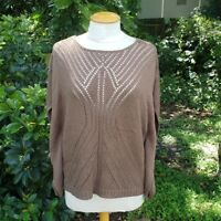 Chico's Women's Sz 1 (Medium/8) Baylor Brown Pullover Open Knit Poncho Sweater
