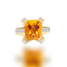 Vintage Citrine Checkerboard Emerald cut  & Diamond Cocktail Yellow Gold Ring