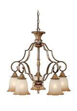 "Tuscan Bronze And Waikiki Sand Glass 5 Light Chandelier 24.75"""