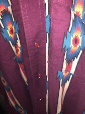 VTG Wrangler Western Aztec Navajo Cowboy Snap Shirt Button Up Size XL Longsleeve