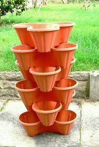 Trio Pot Stacking .Strawberry Herb Flower Bedding Planter Stackable Brown