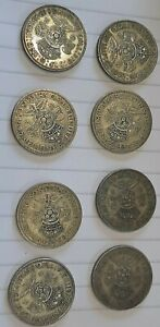 Silver two shillings/florins George V1. Pre 1947. 8 coins 89grams