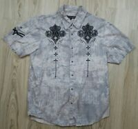 Affliction Men's Button Down Size Small Short Sleeve Shirt Dress Casual Wings