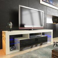 TV LOWBOARD SCHRANK TISCH BOARD 160cm HOCHGLANZ mit RBG LED-Beleuchtung schwarz