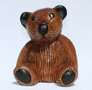Wooden Teddy Bear 16cm tall handcarved from Acacia wood in Thailand Fair Trade