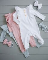 US Stock Newborn Infant Baby Girl Bodysuit Cotton Romper Outfit Clothes Headband