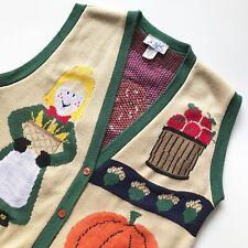 Vintage Womens Sweater Vest Size Large Farm Girl Pumpkin Apple Corn Button Front