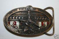 Vintage 1987 Solid Brass United States of America USA Brass Belt Buckle
