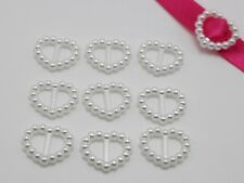 200 Pure White Pearl Heart Buckle Invitation Ribbon Slider 17X14mm For Wedding