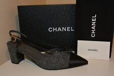 NIB CHANEL 18A CC Logo Slingback Heel Sandal Shoe Tweed Satin Gray Black 40.5 EU
