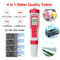 4 in 1 Portable LCD Digital Water Quality Water Purity Tester TDS/EC/PH/TEMP Pen