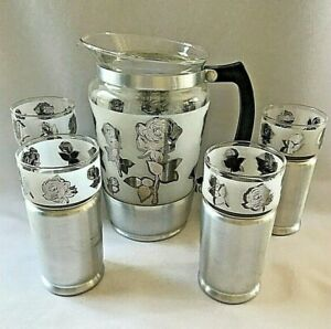 Vintage EVERLAST Forged Aluminum & Glass Pitcher With 4 Glasses Roses EUC