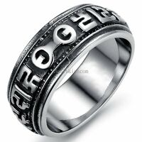 8mm Black Silver Stainless Steel om mani padme hum Six Words Band Men's Ring