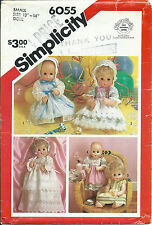 """S 6055 sewing pattern 14"""" Baby DOLL CLOTHES sew Party Dresses Bonnet Christening"""