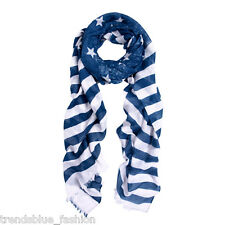 Navy Blue Stars & Stripes Vintage USA American Flag Style Scarf