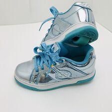 Heelys Split Chrome Skate Shoes Tennis Sneakers W/ Wheels Blue Metallic Girls 3