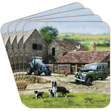 Set Of 4 Farmyard Country Life Square Coasters Dining Table Mat Drink Cork Back