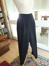 N08 Pantalon noir femme pinces & revers T.40 VINTAGE black woman trousers sz M
