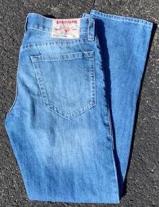 True Religion Jeans Straight Leg Mens 34 x 34 Flawless Authentic Light Wash