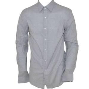 Camicia uomo cotone bianco collo rigido manica lunga motivo astratto nero chiusu