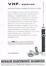 VHF Receiver Sky-Spy Flugfunk, orig. Prospekt Rubach- Electronic 70er Jahre