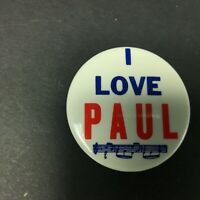 "The Beatles 1964 Pin Back Button I LOVE PAUL Made In USA Memorabilia 2"" Inch"