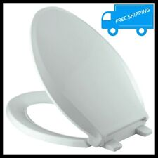 Elongated Toilet Seat Closed Front Ice Gray Slow Close Lid Grip Tight Bowl Cover