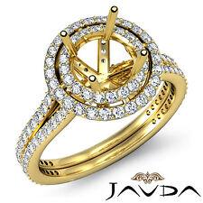 Diamond Engagement Halo Ring Round Semi Mount 1.55Ct 18k Yellow Gold Split Shank