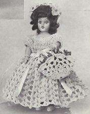 Vintage Crochet PATTERN to make 8 inch Doll Clothes Dress Hat Bonnet Basket