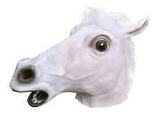 WHITE HORSE OVERHEAD RUBBER ANIMAL MASK HALLOWEEN ADULT ONE SIZE FANCY DRESS
