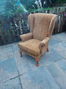 Parker Knoll Penhurst Wing Back Chair Mustard Cheque