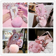 Cute Mouse / Bear Ears Crystal Diamond Case Cover for iPhone 7 With Furry Ball
