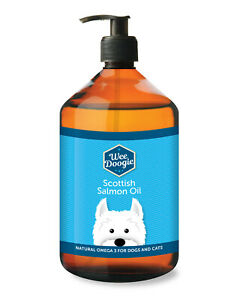 Pure Natural Scottish Salmon Oil for Dogs, Cats, Pets, 1 Litre Fish Oil Omega 3