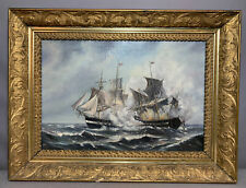 Antique Revolutionary War Naval Battle Old Constitution Ship Seascape Painting