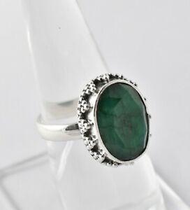 925 Sterling Silver Emerald Sz 2-14 Oval Handmade Wedding Ring Women GRS-1464