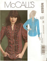 Misses McCalls Pattern M5929 Fitted Shirt Front Ruffle Size 6 8 10 12 14 UNCUT