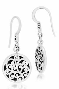 Lois Hill Scroll Round Disc  .925 Sterling Silver Drop Earrings New