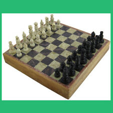 """Handmade Wooden Marble Stone Chess And Board Set Game, Unique Pieces 6"""" x 6"""""""