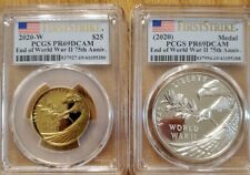 2020-W Two-coin set Gold&Silver  Commemorative Medals WWII 75th PCGS PR69DCAM FS