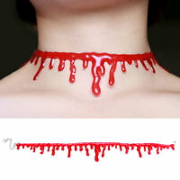 Halloween Vampire Red Bloodstains Blood Chain Pendant Choker Collar Necklace
