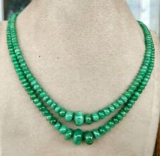 Natural Emerald Vintage Necklace Christmas Gift rondelle beads Handmade Necklace