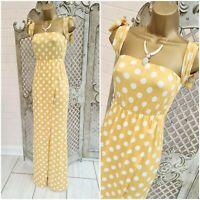 RUIYIGE 💋 UK S Mustard Yellow Polka Dot Bardot Tie Split Maxi Dress Free P&P