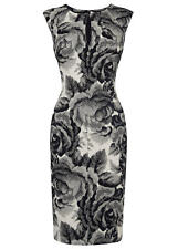 PHASE EIGHT WOMENS 'TINA' MONOCHROME ROSE PRINT FITTED PENCIL DRESS *UK 10*