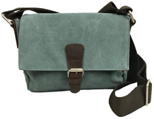 Compact Canvas Cross Body Messenger Satchel Bag for Men & Women - Sage Green