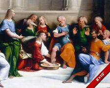 JESUS CHRIST WASHING THE DISCIPLES FEET SERVICE PAINTING ART REAL CANVAS PRINT