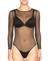 Ladies Mesh Round Neck All Over women Mesh Long Sleeve Bodysuit Leotard Top New
