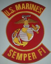 "USMC ""US MARINES SEMPER FI"" RED/GOLD 3 PC set  10 inch Round Patch W/ Rockers"