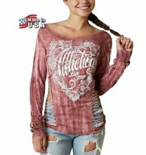 NWT AFFLICTION Free Heart Mauve Laser Cut T-Shirt Top Women Medium Long Sleeve