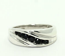 Sterling Silver Round Black CZ Slanted Wave Band Ring Size 9.75